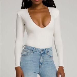 Good American deep V white bodysuit